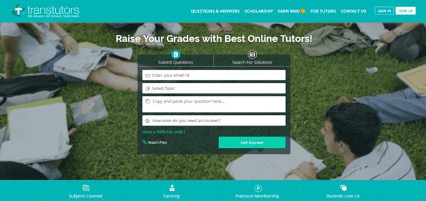 Transtutors service home page